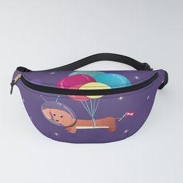 Galaxy Dog with balloons Fanny Pack