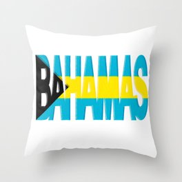 Bahama Font with Bahamian Flag Throw Pillow