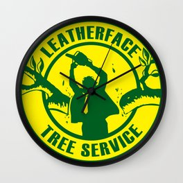 Leatherface Tree Service Wall Clock