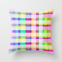 bathroom Throw Pillows featuring Bathroom Tile Rainbow by Jessica Slater Design & Illustration