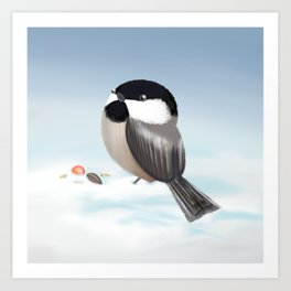 Black-capped Chickadee (Canavians Series) Art Print