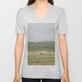 Boat on the grass Unisex V-Neck