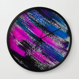 Stormy Night Abstract Brush Strokes Painting Wall Clock