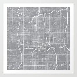 Oklahoma City Map, Oklahoma USA - Pewter Art Print