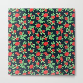Lingonberry (on Navy) Metal Print