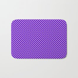 Tiny Paw Prints Pattern Deep Purple and White Bath Mat