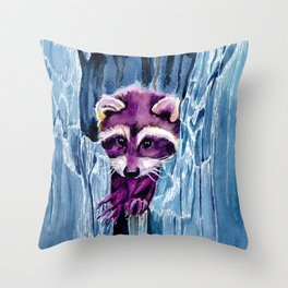 Colorful Racoon Throw Pillow