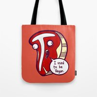 vegan Tote Bags featuring Vegan Steak by Artistic Dyslexia