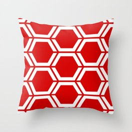 Rosso corsa - red - Geometric Polygon Pattern Throw Pillow