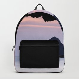 Half Moon beach. Vela tower cliff. Backpack
