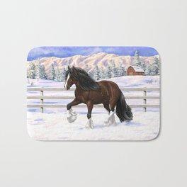 Beautiful Brown & White Bay Gypsy Vanner Draft Horse In Snow Bath Mat