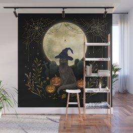 The Black Cat on Halloween Night Wall Mural