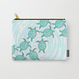 Watercolor Teal Sea Turtles on Swirly Stripes Carry-All Pouch