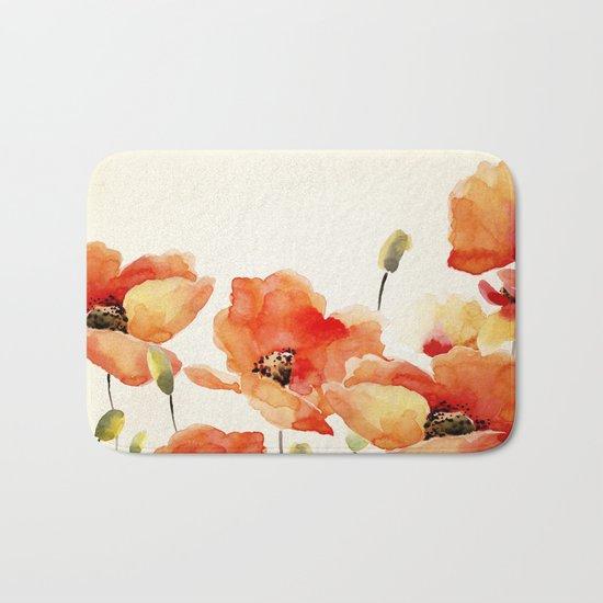 Poppy Flower Meadow- Floral Summer lllustration Bath Mat
