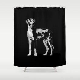 Harlequin Great Dane  -pearl and silver Shower Curtain