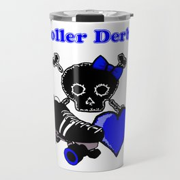 Roller Derby Heart (Blue) Travel Mug