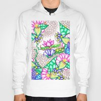 preppy Hoodies featuring Bright modern botanical preppy floral watercolor by Girly Trend