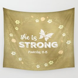 Proverbs She is Strong  Wall Tapestry