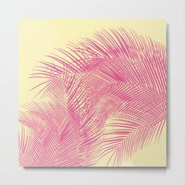 Palm Leaves, Pink Metal Print