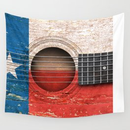 Old Vintage Acoustic Guitar with Texas Flag Wall Tapestry