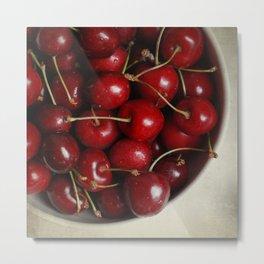 Bowl of Cherries Print, Food Photography Metal Print