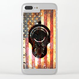 M1911 Colt 45 On Rusted American Flag Clear iPhone Case