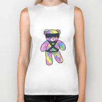 bondage Biker Tanks featuring Rainbow Bondage Bear by clevernessofyou