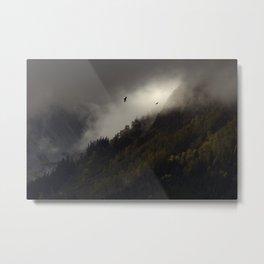 Dramatic Silhouette of Eagles in Vast Alaska Wilderness Metal Print