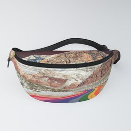 Trippy 1960s Stars and Moon Retro Red Rock Canyon Collage Milky Way Galaxy Colors Fanny Pack