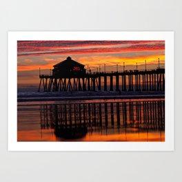 Refections in the sand ~ Huntington Beach Pier, CA Art Print