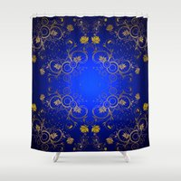 floral pattern Shower Curtains featuring Floral Pattern by Looly Elzayat