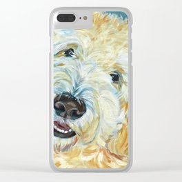 Stanley the Goldendoodle Dog Portrait Clear iPhone Case