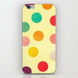 Colorful  polka dot pattern on cream background iPhone Skin