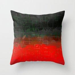 Dark Red Black Emerald  Multi-Pattern Overlay Design Throw Pillow