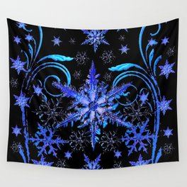 DECORATIVE BLACK & BLUE WINTER SNOWFLAKE FANTASY ART Wall Tapestry