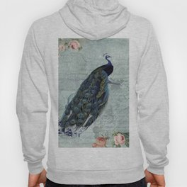 Vintage Victorian Peacock Bird and Roses Illustration Hoody