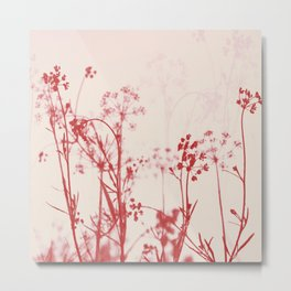 Elegant Coral Pink Botanical Floral Abstract. Metal Print