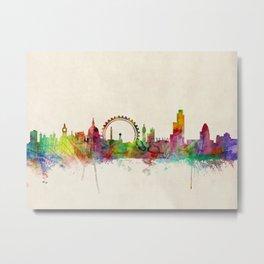 London Skyline Watercolor Metal Print