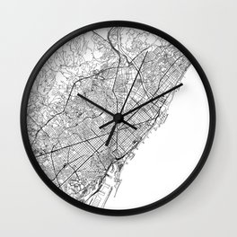 Barcelona White Map Wall Clock