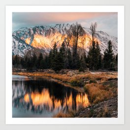 Fiery Sunrise Reflections in Grand Teton Art Print