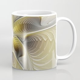 Gold And Silver, Abstract Flower Fractal Coffee Mug