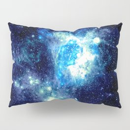 Galaxy NEbula. Teal Turquoise Blue Aqua Pillow Sham