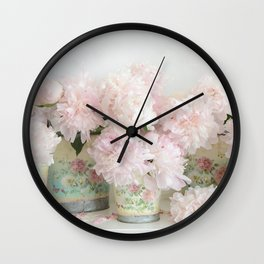 Shabby Chic Dreamy Pastel Peonies Floral Home Decor Wall Clock