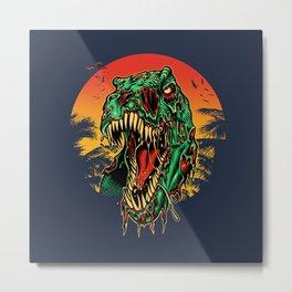 Zombie T-Rex Metal Print