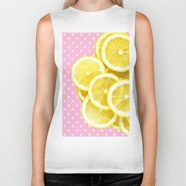 Candy Pink and Lemon Polka Dots Biker Tank
