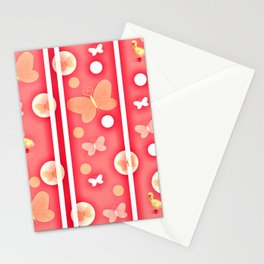 butterfly orange,red,duck,balls children pattern Stationery Cards