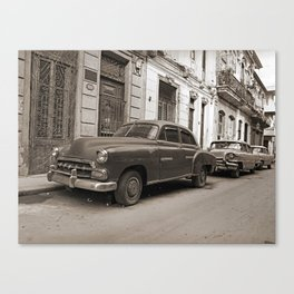 Classic cars on the street Canvas Print