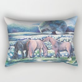 Moonlit Summer Night Horses And Fireflies Rectangular Pillow