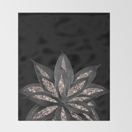 Gray Black Agave with Rose Gold Glitter #1 #shiny #tropical #decor #art #society6 Throw Blanket