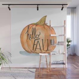 Hello fall pumpkin Wall Mural